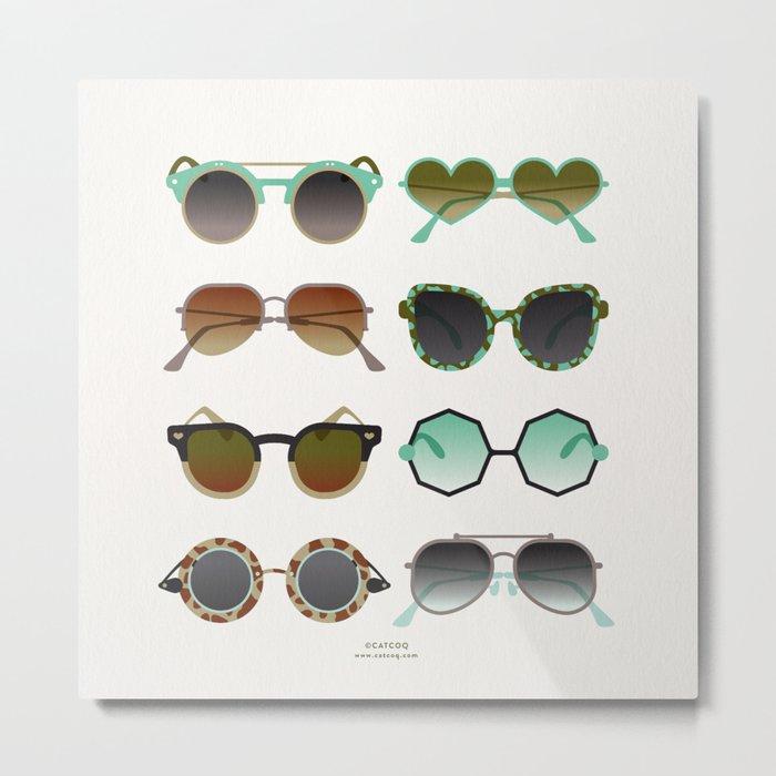 Sunglasses Collection – Mint & Tan Palette Metal Print
