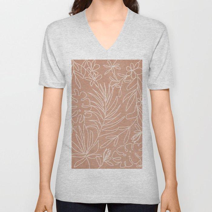 Engraved Tropical Line Unisex V-Neck