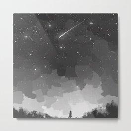 Girl watching a shooting star Metal Print