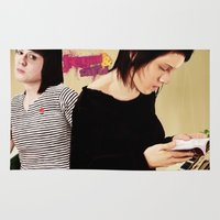 tegan and sara Area & Throw Rugs featuring Tegan and Sara by Mr. Frogo
