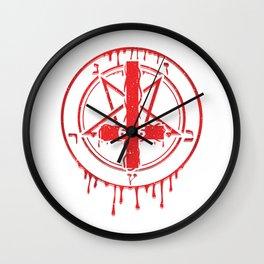 Inverted Pentagram I Satanic 666  print Wall Clock