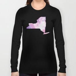 Watercolor State Map - New York NY purples Long Sleeve T-shirt