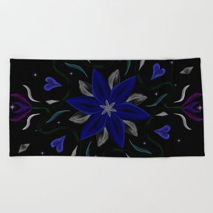 Blue Starflower Beach Towel