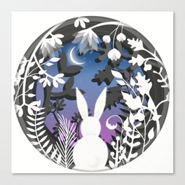 Moonlight Bunny Star Gazer Canvas Print