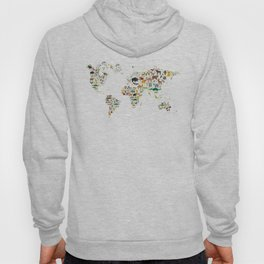Cartoon animal world map for children and kids, Animals from all over the world on white background Hoody