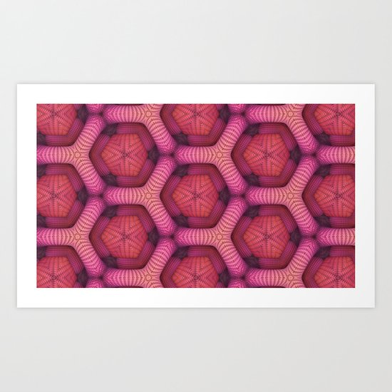 Pink Honeycomb (Abstract) Art Print