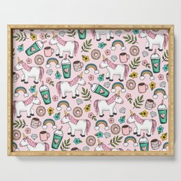 Pink Unicorn, Sweet Pink, Donuts and Frappuccino, Cute Emoji Print for Girls, Tween Decor Serving Tray