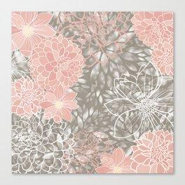 Floral Pattern Dahlias, Blush Pink, Gray, White Canvas Print