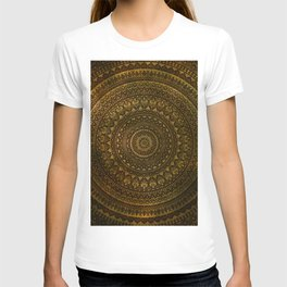 Lime Brown Boho Mandala    Manafold Art T-shirt