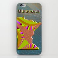 minnesota iPhone & iPod Skins featuring Minnesota Map by Roger Wedegis