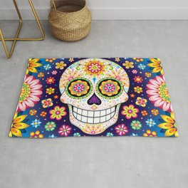 Sugar Skull with Flowers - Colorful Art by Thaneeya McArdle Rug