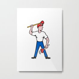 Plumber Wield Wrench Plunger Isolated Cartoon Metal Print