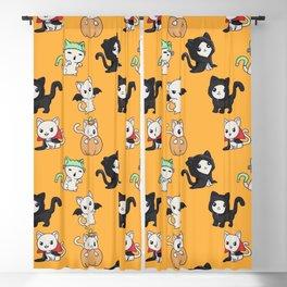 Cute little halloween kittens pattern Blackout Curtain
