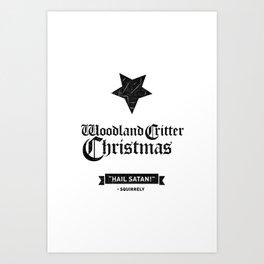 Woodland Critter Christmas Black Text Art Print