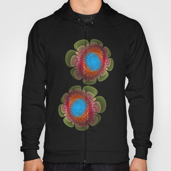 Colourful fantasy flower with a spiral heart Hoody