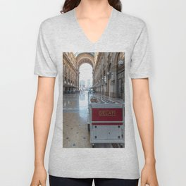 Ice cream cart in a historic gallery in the city of Milan Unisex V-Neck