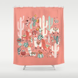 Lama in cactus jungles Shower Curtain