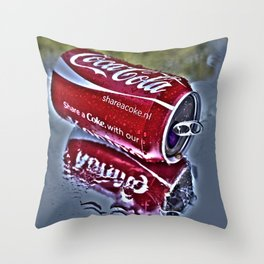 Chilly cola in the hot summer day  Throw Pillow
