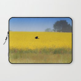 Blackbird over the canola field Laptop Sleeve
