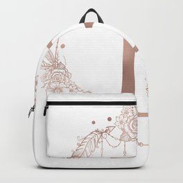 Letter B Rose Gold Pink Initial Monogram Backpack