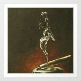 Smoke Woman Art Print