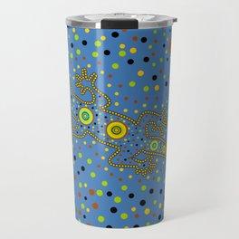 Lizard- aboriginal in blue Travel Mug