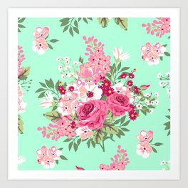 Cottage Chic Roses and Lilacs Floral in Aqua and Pink Art Print
