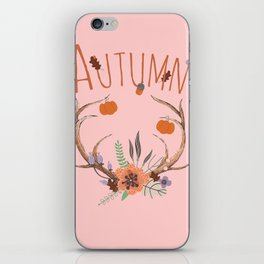 Pink Autumn Antlers iPhone Skin