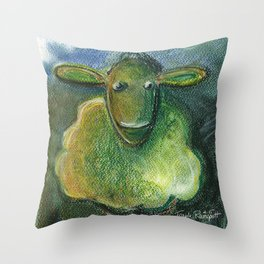 Sheep For Children Pastel Chalk Drawing Throw Pillow