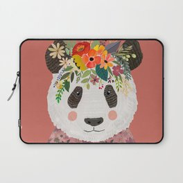 Cut Panda Bear with flower crown. Cute decor for kids Laptop Sleeve