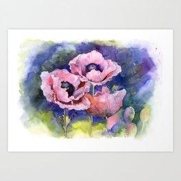 Watercolor Poppies Flowers Art Art Print