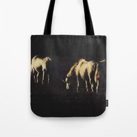 horses Tote Bags featuring Horses by Ni.Ca.