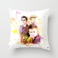david tennant Throw Pillows featuring David Tennant / Tenth Doctor Mixed Media Digital Painting by Purshue