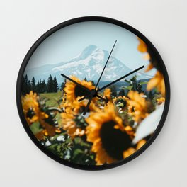 Mt. Hood Sunflower Field Wall Clock