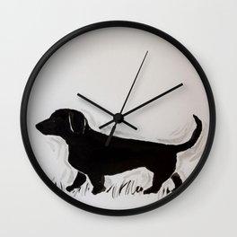 Dachshund Dash Wall Clock