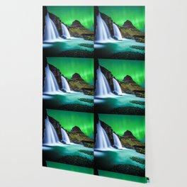 Aurora Borealis Waterfall Wallpaper
