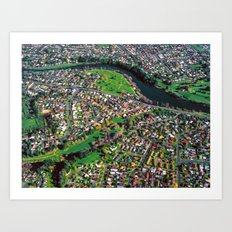 Hamilton City, New Zealand - Aerial view  Art Print