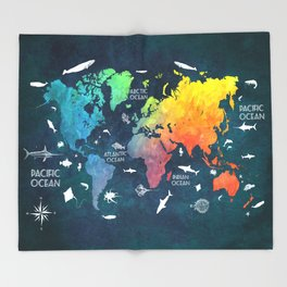 Ocean World Map color #map #worldmap Throw Blanket