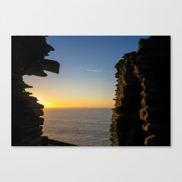 SUNSET AT TINTAGEL CASTLE CORNWALL Canvas Print