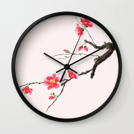 red Japan begonia Wall Clock
