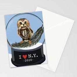 I Love NY Snow Globe Owl Stationery Cards
