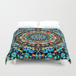Sparkling turquise orange mandala Duvet Cover