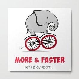 Elephant on the bike Metal Print