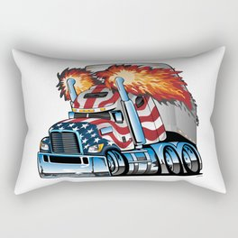 Patriotic American Flag Semi Truck Tractor Trailer Big Rig Cartoon Rectangular Pillow