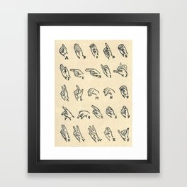 Vintage Sign Language Alphabet Framed Art Print
