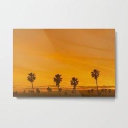 Los Angeles Sunset & Palm Trees Metal Print