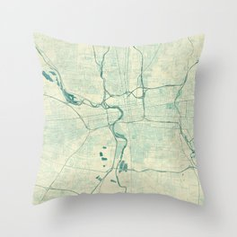 Columbus Map Blue Vintage Throw Pillow