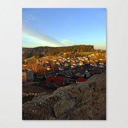 Village skyline below the castle at sundown | landscape photography Canvas Print