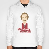 will ferrell Hoodies featuring Will Ferrell as Ron Burgundy by Leo Maia
