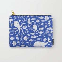 Underwater Sea Life Pattern in Cobalt Carry-All Pouch